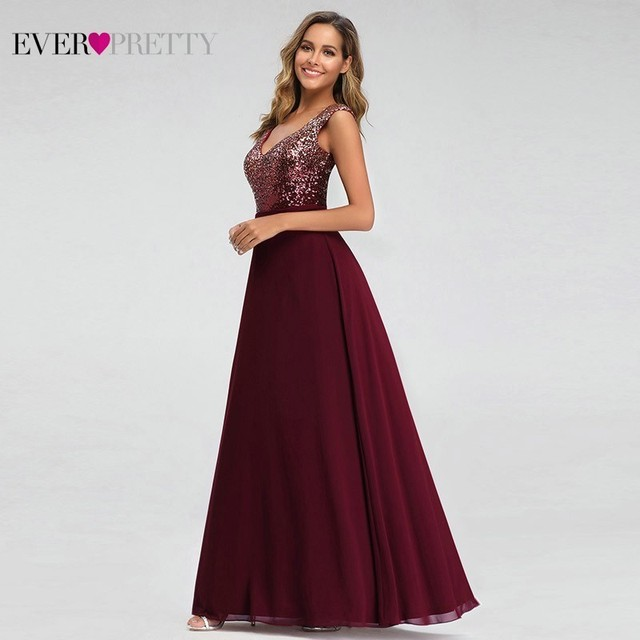 Ever Pretty Burgundy Sparkle Prom Dresses Long A-Line V-Neck Sequined Gala Dresses Sexy Party Gowns Robe Plissee Longue 2020 3