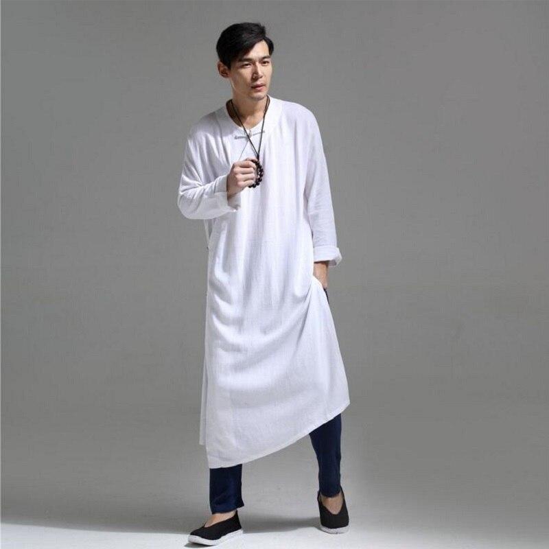 Homme chemise mi-longue lin lâche irrégulière Outwear décontracté Style chinois rétro homme chemise printemps et été SY0002
