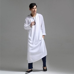 Mannen Medium-lange Shirt Linnen Losse Onregelmatige Uitloper Casual Chinese Stijl Retro Mannelijk Overhemd Lente en Zomer SY0002