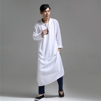 Men's Medium long Shirt Linen Loose Irregular Outwear Casual Chinese Style Retro Male Shirt Spring and Summer SY0002