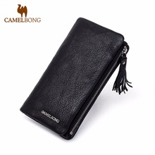 FINKRS Genuine Leather 2016 New Classical Vintage Style Men Wallets Wallet Fashion Brand Purse Card Holder Wallet Long Clutch