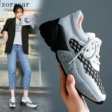 Zorssar 2019 New Leather Shoes Handmade Brand Tenis Feminino Women Casual Lace Up Sneakers Fashion Flats Low-top
