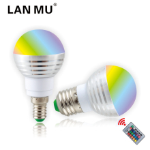LAN MU LED RGB Bulb Lamp E27 E14 3W AC110V 220V LED RGB Spot light 85-265V magic RGB lighting+IR Remote Control 16 colors(China)