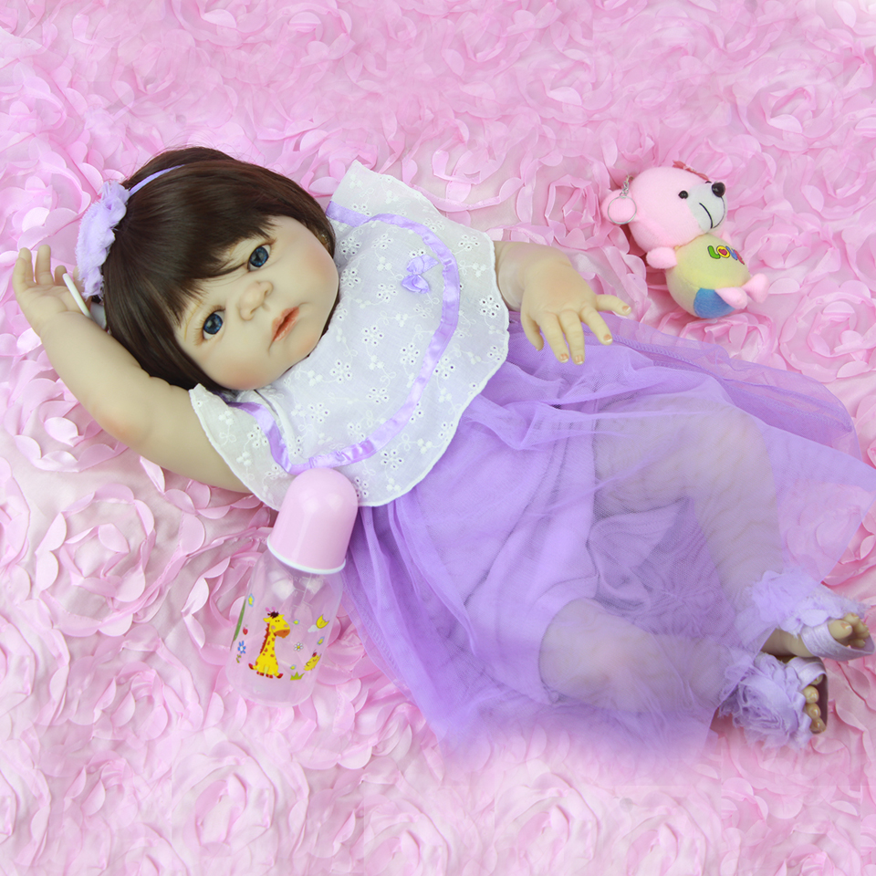 Lifelike Princess 23'' Reborn Baby Dolls Full Silicone Vinyl Baby Doll Girl Toy DIY Purple Dressing Doll For bebe Xmas Gifts Hot lifelike american 18 inches girl doll prices toy for children vinyl princess doll toys girl newest design
