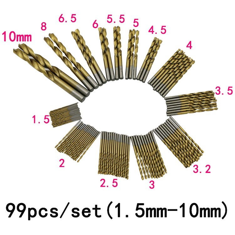 99pcs 1.5mm-10mm Shank High Speed Steel Titanium Coated Twist Drill Bit Set Tools For Wood Plastic and Aluminum 99pcs manual twist titanium coated high