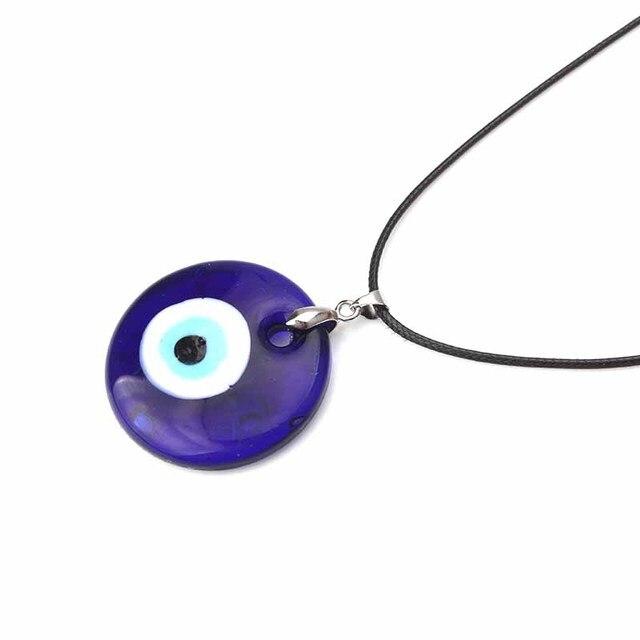 1 PC Kaca Biru Mata Jahat 30 Mm Mata Jahat Pesona Nacklace Liontin untuk Wanita Mata Jahat Kalung Perhiasan Aksesoris temuan Membuat