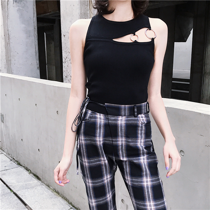 Women O-Neck Knitted Cropped Elastic   Tank     Tops   Female Bodycon   Tanks   Sleeveless Cropped Solid T shirts Tees Camisole