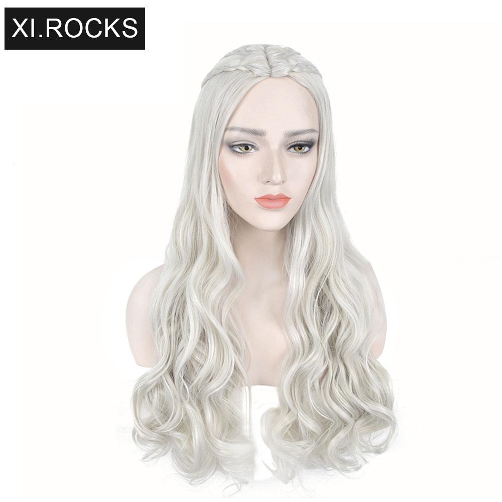 3627 xi. rochas longas perucas cosplay para preto mulher trança ondulado peruca sintética fêmea cinza encaracolado mãe dragão perucas para