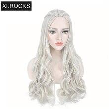 3627 Xi. rocce Lungo Cosplay Parrucche Per Le Donne Nere Treccia Ondulati Parrucca Sintetica Femminile Grigio Ricci Madre Drago Parrucche Per