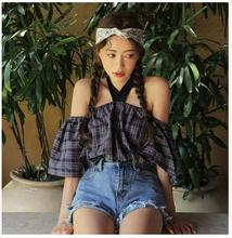 2017 han edition Stylenanda lace-up hang adorn one word led off-the-shoulder neck plaid shirt