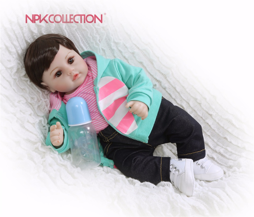 NPKCOLLECTION 47CM Soft Silicone Handmade Reborn Baby Girl Dolls Realistic Looking Newborn Baby Doll Toddler Cute
