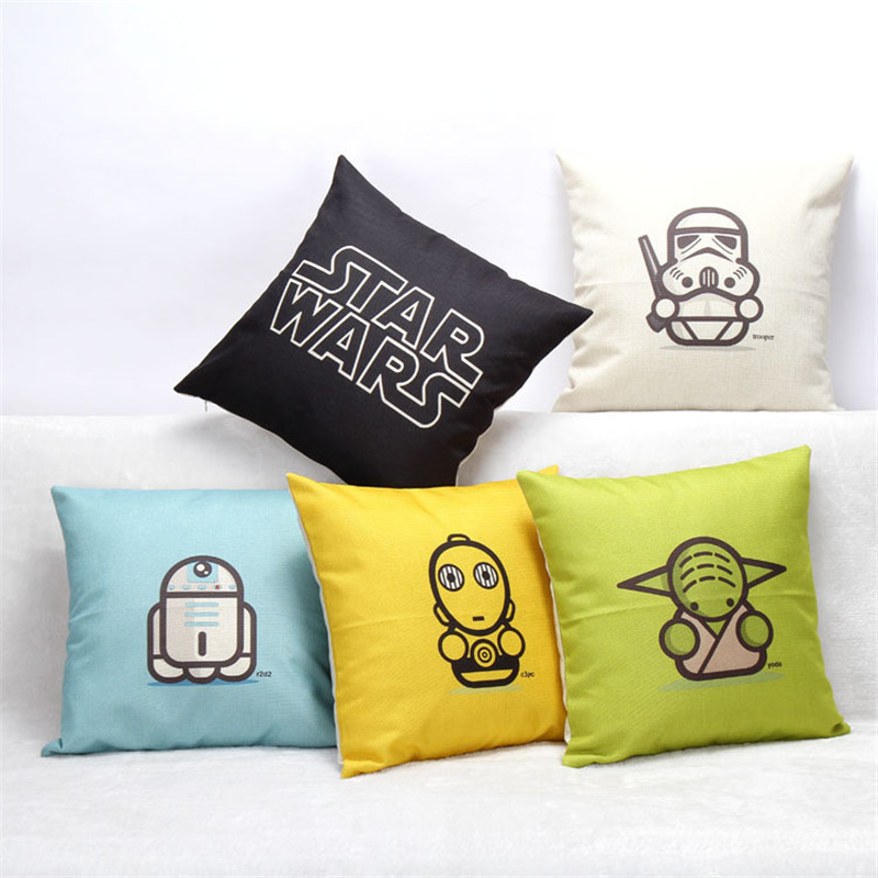 Hot Selling Cartoon Star Wars Cotton Linen Throw Pillow case Sofa Back Blue Cushion Cover Baby Room Decorative cojines