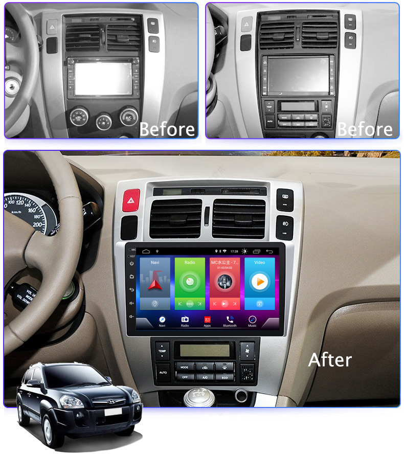 <font><b>Car</b></font> Android 8.1 Multimedia Player for <font><b>HYUNDAI</b></font> <font><b>Tucson</b></font> 06-2014 GPS Navigation Device USB bluetooth steering wheel control support image
