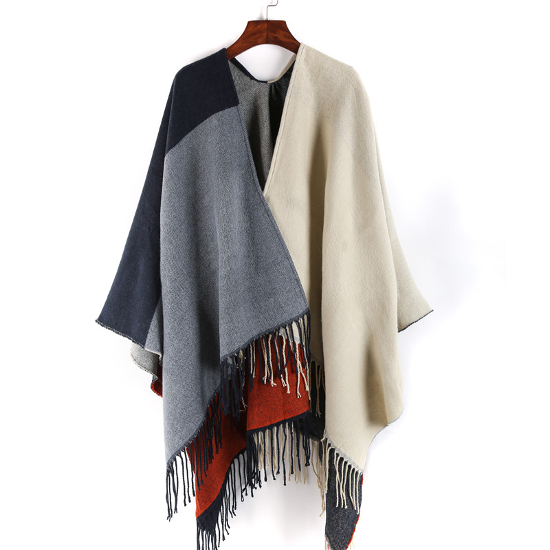 New Cashmere Scarf Women 2017 Winter Tassel Shawl Wrap Patchwork Warm Pashmina Fashion Oversize Women's Scarves And Stoles