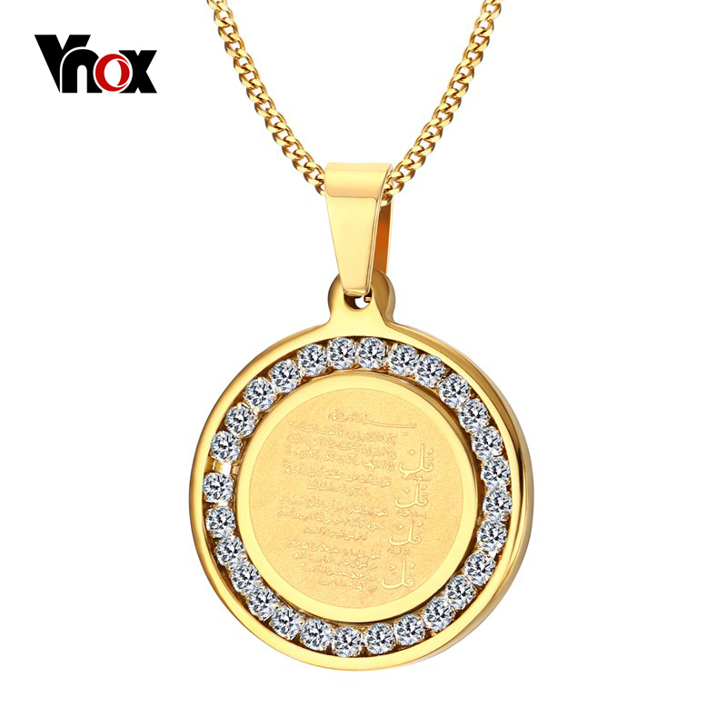 Vnox Islamic Necklace Gold-color Round Necklace Religious Jewelry with Beautiful CZ Stone