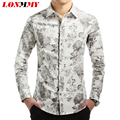 LONMMY Mens floral shirts Long sleeve men dress shirts slim fit camisa social Flower spring 2016 Brand Fashion Cotton M-5XL