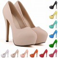 Aidocrystal Fashion Women Round Toe High Platform Extreme High Heels Shoes 16CM Sexy Pumps Nightclub Evening Party Nude shoes 41