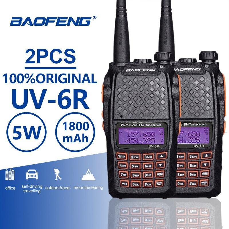 2pcs Baofeng UV-6R Orange Keypad Walkie Talkie 10 Km 7W UHF VHF Dual Band UV 6R FM Radio VOX Alarm Ham Hf Transceiver PTT UV6R