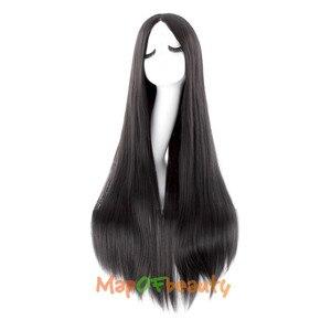 """Image 3 - MapofBeauty 39 """"100 см длинные прямые парики для женщин черный коричневый белый парик для косплея Женские синтетические волосы поддельные шиньоны розовая сетка"""