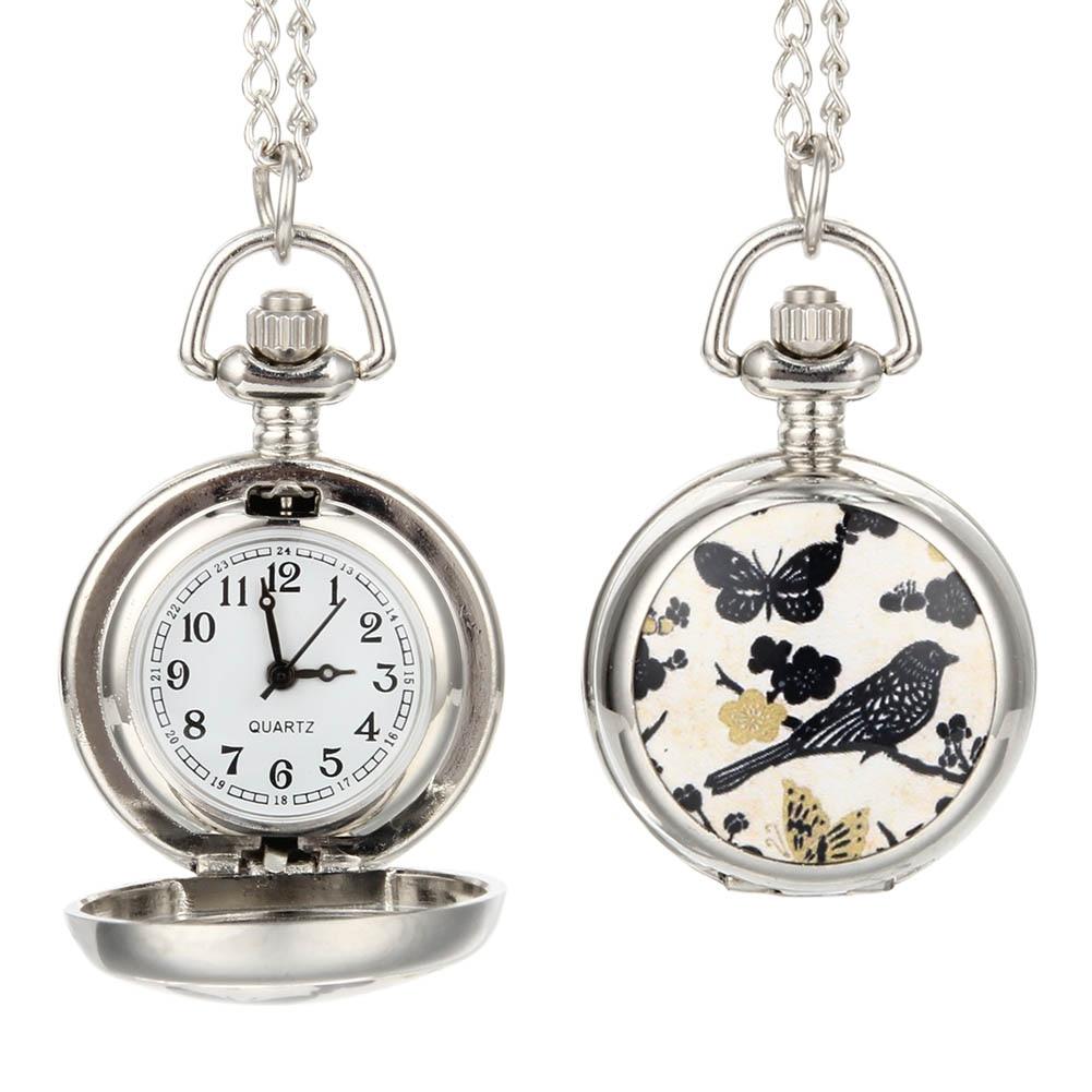 Fashion Vintage Quartz Pocket Watch Alloy Bird Flowers Butterfly Lady Sweater Chain Necklace Pendant Clock Women Gifts L