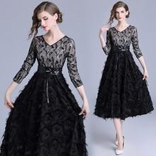 2018 Autumn Winter Black Dress Women V-neck A-Line Mesh Feathers Lace With Sashes Vintage Plus Size Vestidos