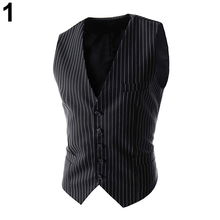 Men's Fashion Formal Business Casual Stripe Single-breasted Slim Waistcoat Suit