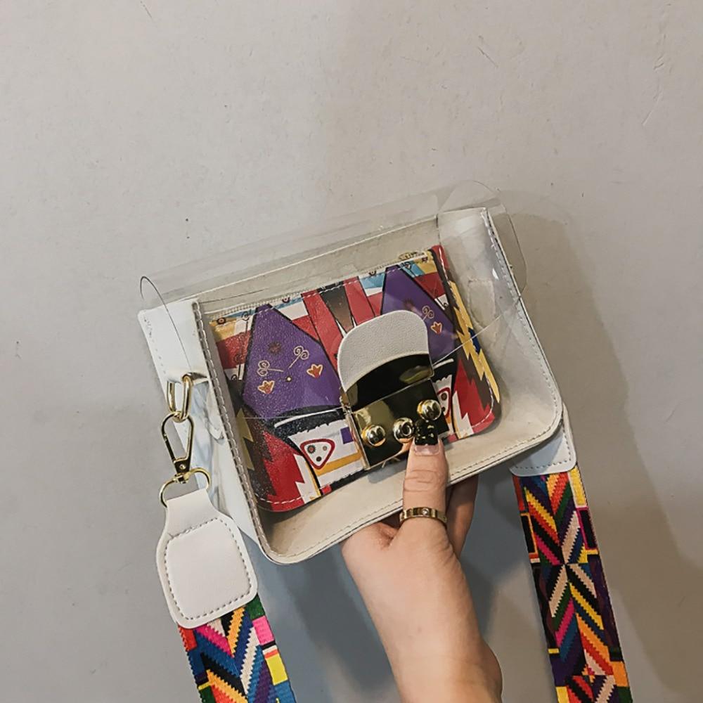 Fashion Pattern Jelly Bag Clear Transparent PVC Shoulder Bags Width Band Messenger Bag Transparent Jelly Shoulder Bag A1