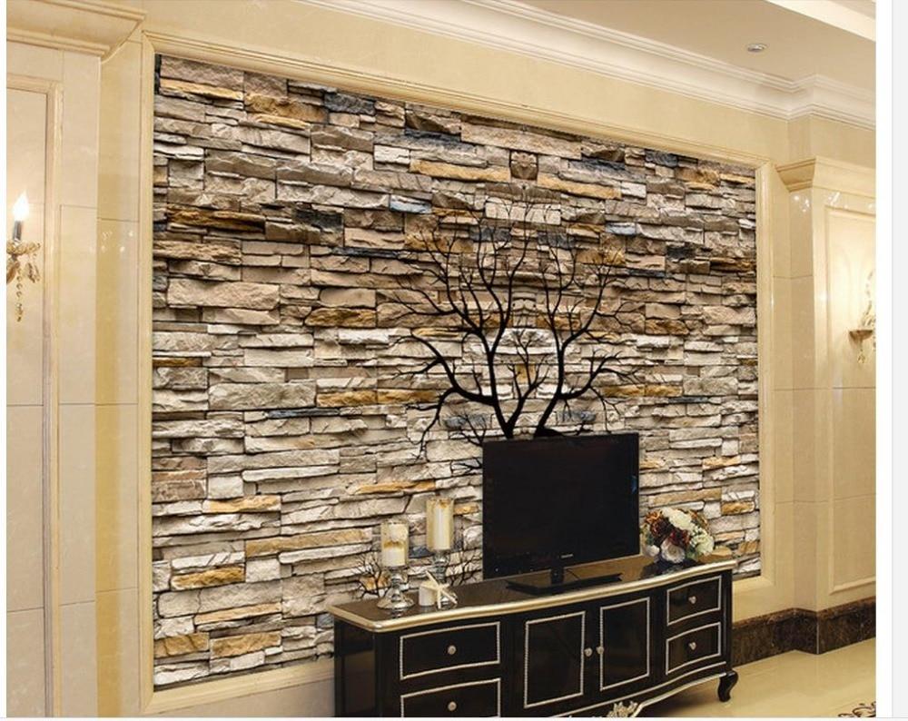 Papier Peint Pour Chambre €11.71 58% de réduction|3d papier peint pour chambre 3d pierre mur troncs  silhouette tv salon fond mural 3d papier peint décoration de la maison|3d
