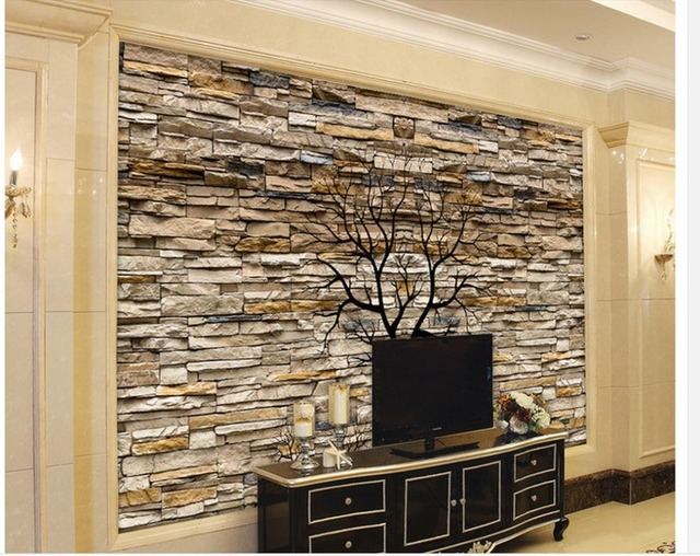 3d wallpaper for room 3D stone wall trunks silhouette TV living room ...