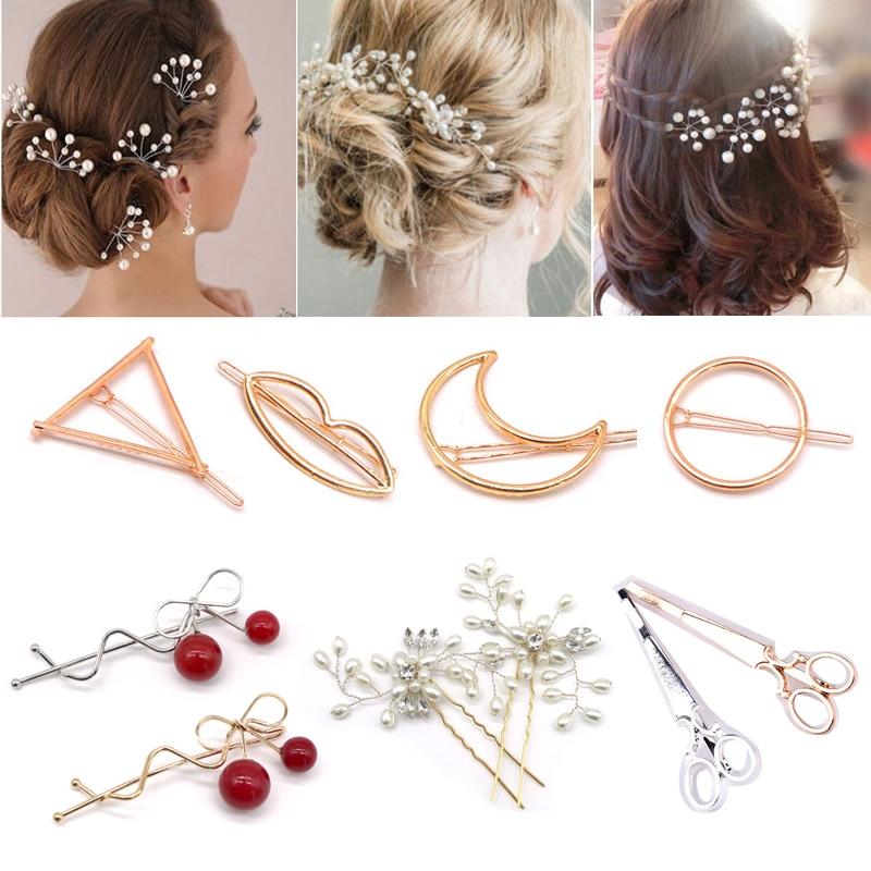 5Pcs Qadın Qızlar Moda Hairpins İncili Toy Toy Gəlin Saç - Saç qayğı və üslubu - Fotoqrafiya 2