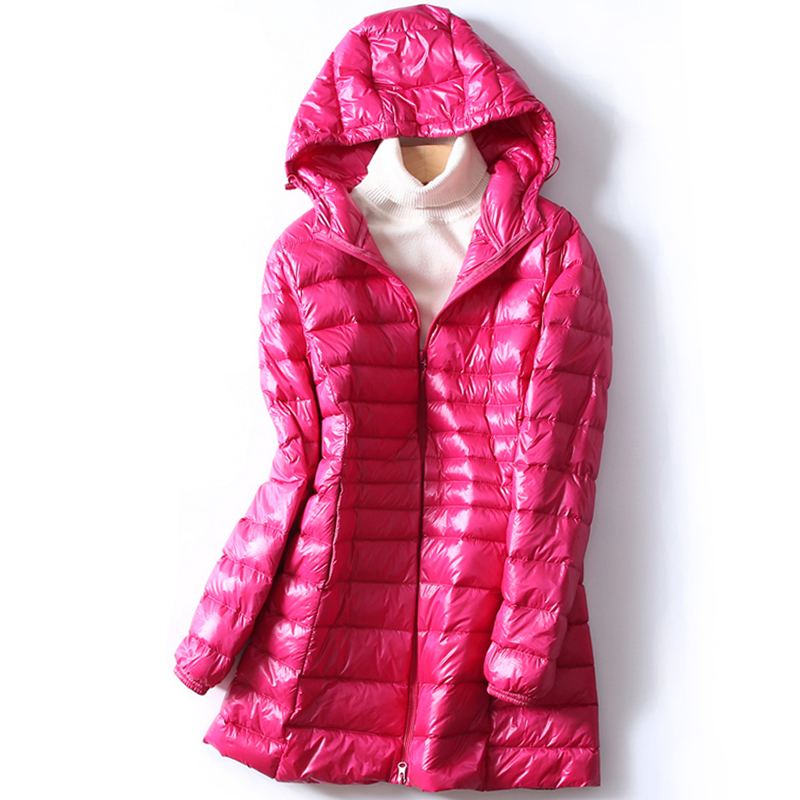 2018 Autumn Winter Women Ultra Light   Down   Jacket Warm Lightweight White Duck   Down     Coat   Parkas Ladies Long Hooded Outwear AB884
