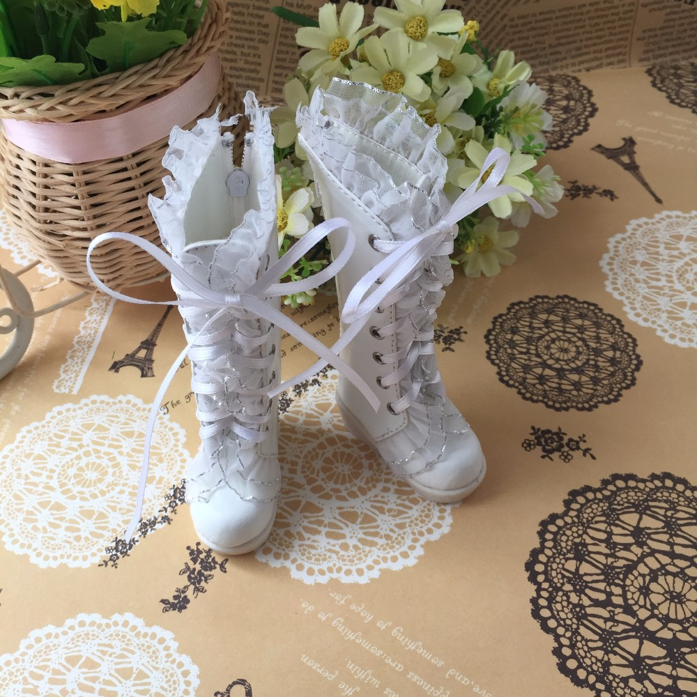 1/4 1/3 BJD Dollfie MSD Doll shoes Long Boots White Lace Boots