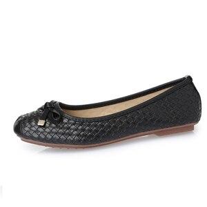 Image 2 - BEYARNE משלוח חינם חדש אופנה מעצב נשים של אמיתי קשת עור רך תחתון שטוח נעלי נשים שחור גדול גודל EUR 35 41