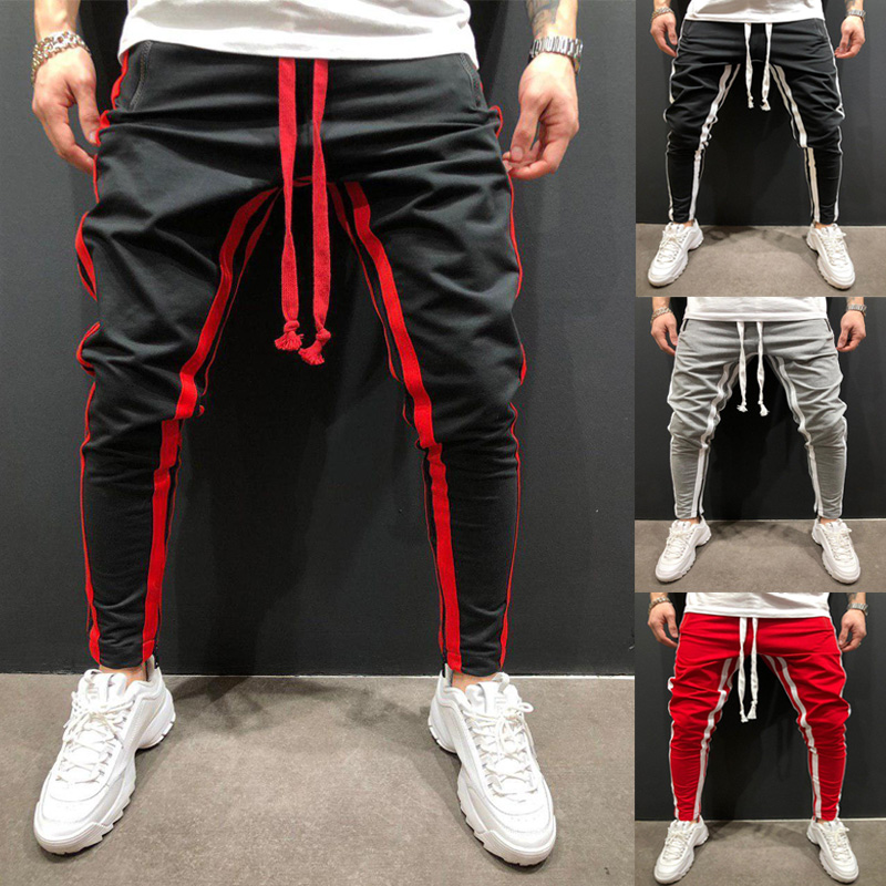 Man Pants 2019 Brand New Mens Skinny Slim Fit Bottom Stripe Casual High Pants With Pockets Workout Hip Hop Track Trousers