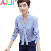 Blue White Summer Loose V Neck Elegant Shirt Women S Formal Blouse Long Sleeve Blouse Ladies