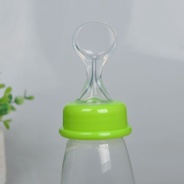 Useful Safety Silicone Baby Bottle With Spoon Food Supplement  Rice Paste Feeding Bottles
