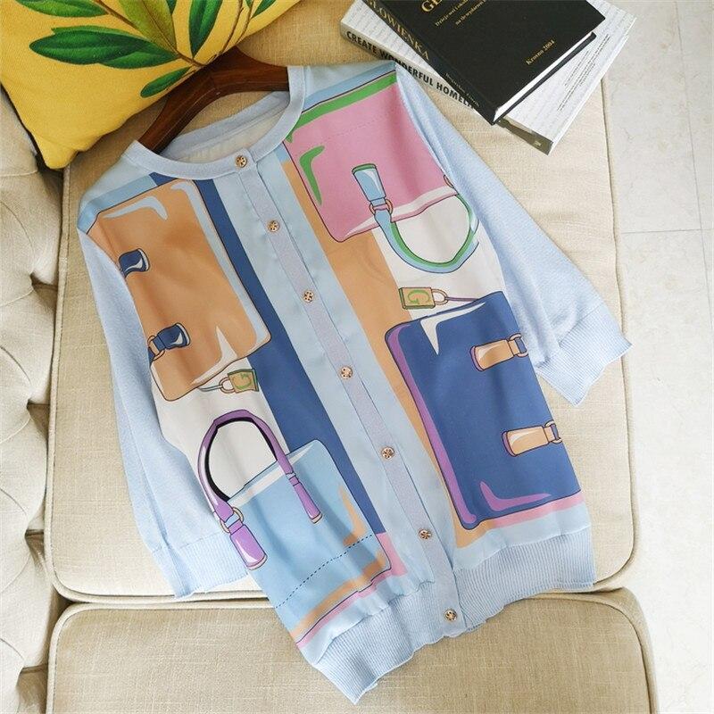 Blusas tejidas de marca de diseñador de lujo para mujer cuello redondo bolsa de personalidad estampado seda empalmada suelta Rebeca de punto-in Blusas y camisas from Ropa de mujer    1