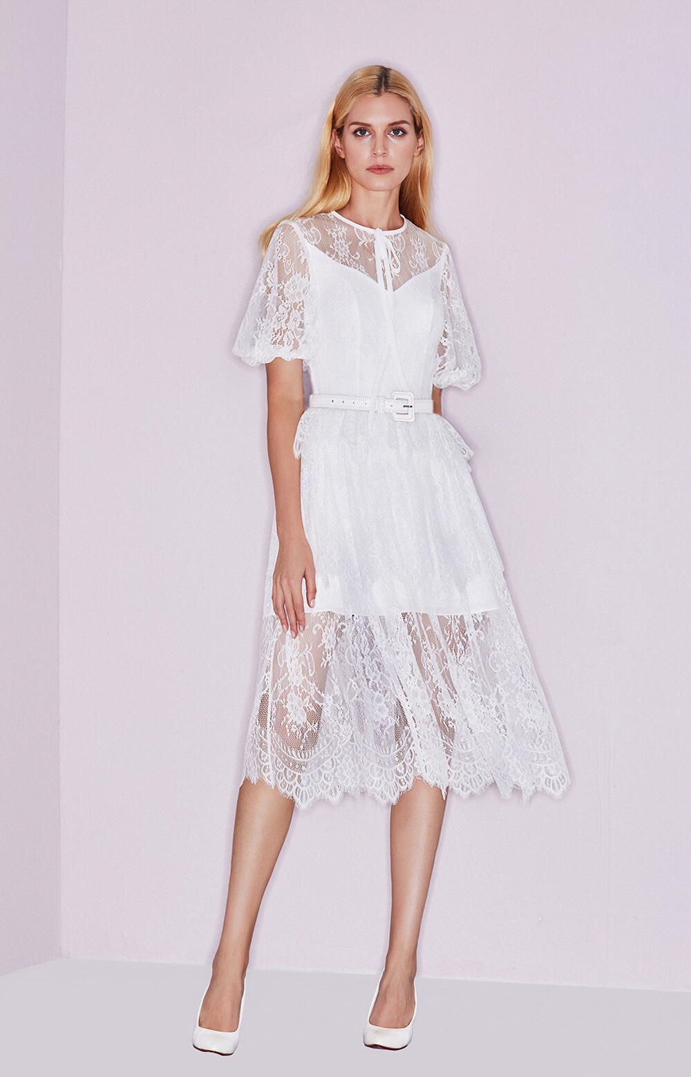 Illusion Lace Puff Sleeve Bow Prom Dress Tea Length Cocktail Dresses ...