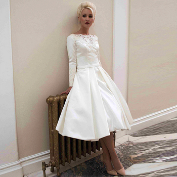 Vestido de noiva robe de mariage Bateau Bateau Long Sleeve Wedding Gowns 2015 Cheap Short Wedding Dresses With Covered Buttons фото