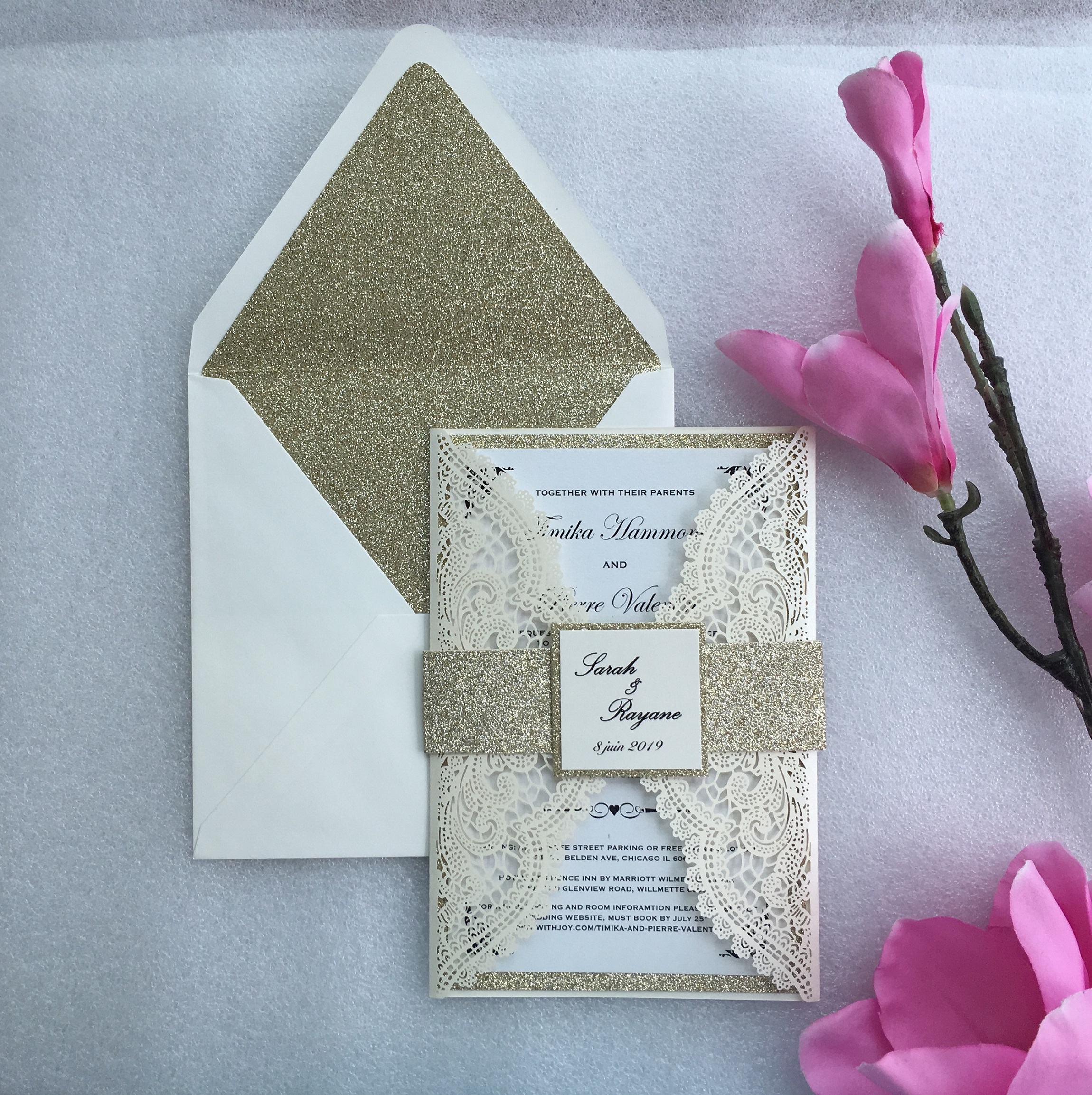 Customized Ivory Laser Cut Wedding Party Invitations Card Elegant Marriage Invitation Cards With Band 100PCS Express