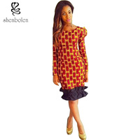 Fashion African Dresses For Women Ankara Fabric Style Stitching Batik Wax Printing Sexy Long Sleeve Dress