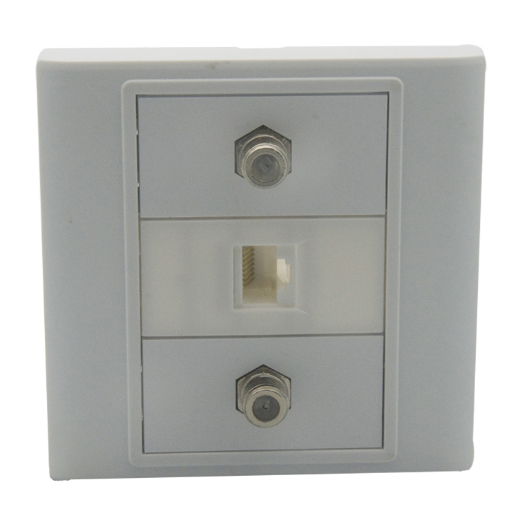 CAT6, 2 X F head TV wall plate with back female to female connector support customer design