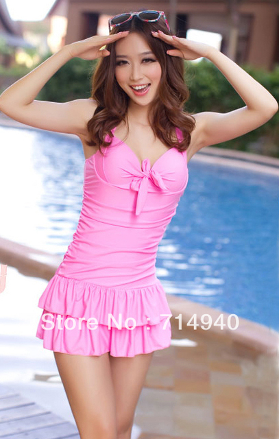Vintage Inspired Y Pink Push Up Layered Ruffle Swim Dress One Piece Swimsuit