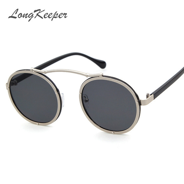 New Arrival Steampunk Women Brand Design Sunglasses Men Fashion Round Sunglasses High Quality oculos feminino 8332