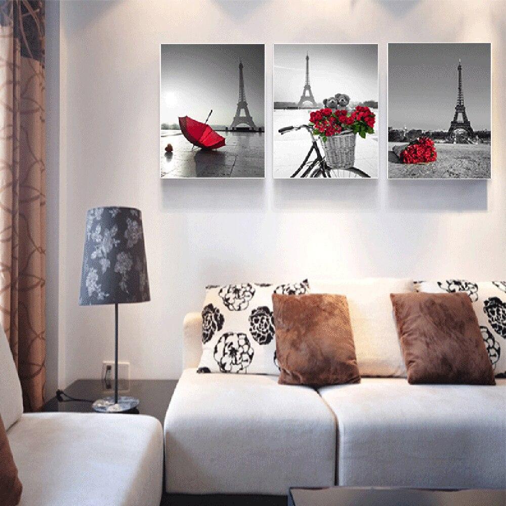 Eiffel Tower Red Flower Canvas Poster Black White Art Prints Modern Home Decor