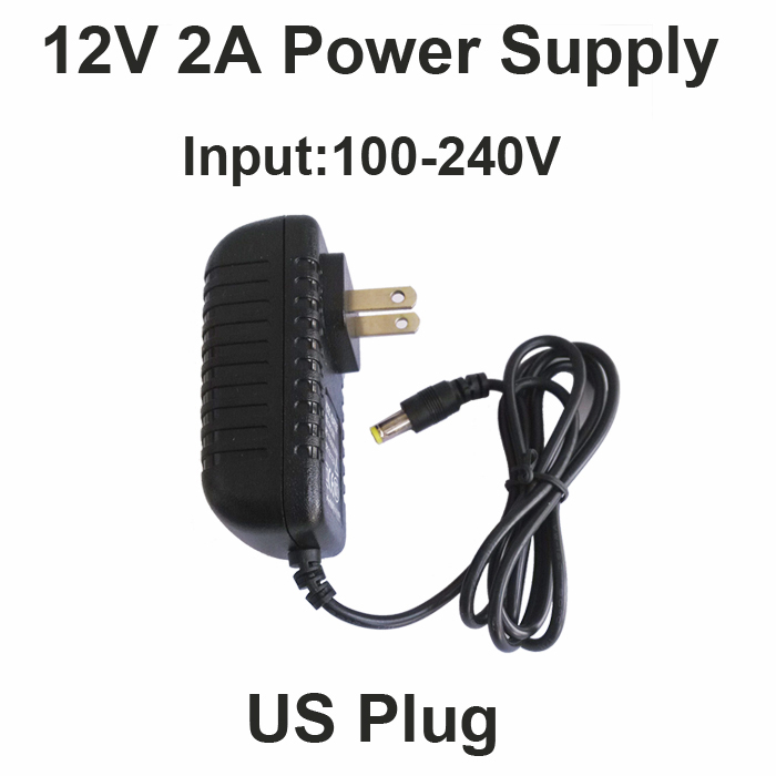 Hot 12V2A good quality Power supply adapter US plug for CCTV camera IP camera and DVR,AC100-240V to DC12V2A Converter adapter eu us 12v 2a power supply ac 100 240v to dc adapter plug waerproof for cctv camera ip camera surveillance accessories