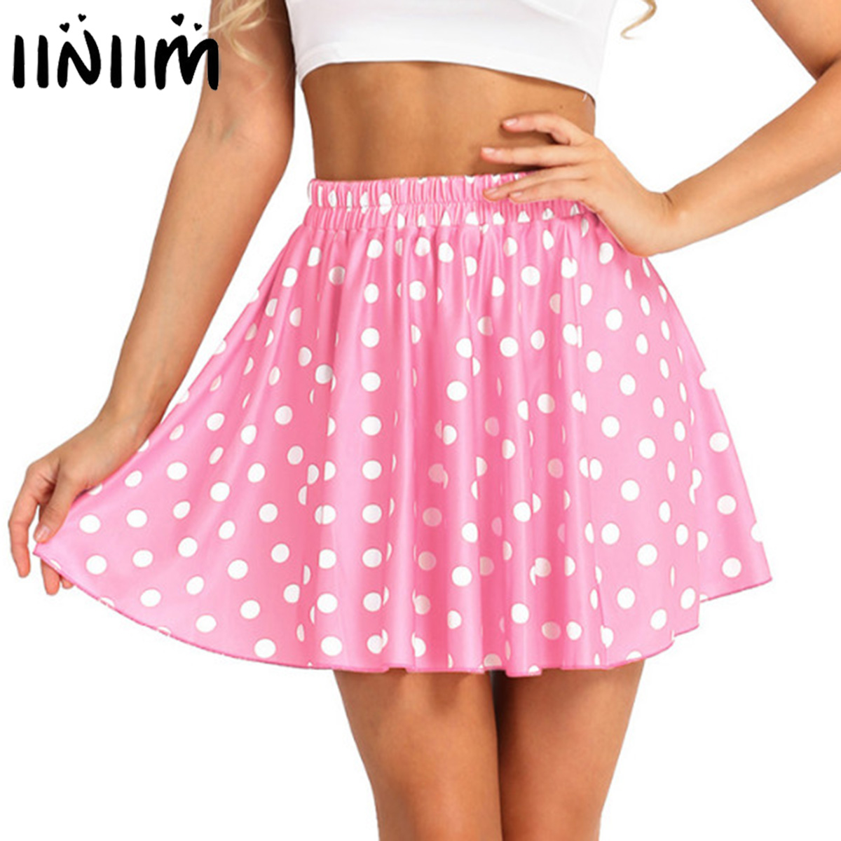 Fashion Women Mid Waist Polka Dot Basic Versatile Stretchy Swing Flared Casual Mini Skirt For Summer Party Office Ladies Skirts