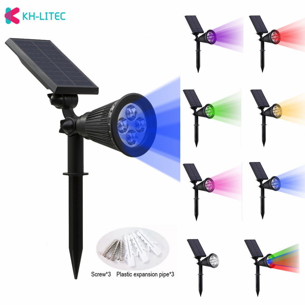 KHLITEC Solar Spotlight Adjustable Solar Lamp 4/7 LED Waterproof IP65 Outdoor Garden Light Lawn Lamp Landscape Wall Lights