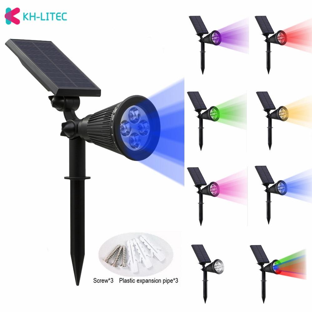KHLITEC Solar Spotlight Adjustable Solar Lamp 4/7 LED Waterproof IP65 Outdoor Garden Light Lawn Lamp Landscape Wall Lights