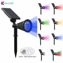 лучшая цена KHLITEC Solar Spotlight Adjustable Solar Lamp 4/7 LED Waterproof IP65 Outdoor Garden Light Lawn Lamp Landscape Wall Lights